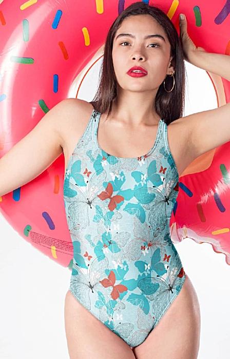 Blue butterfly one piece bathing suit swimsuit designer