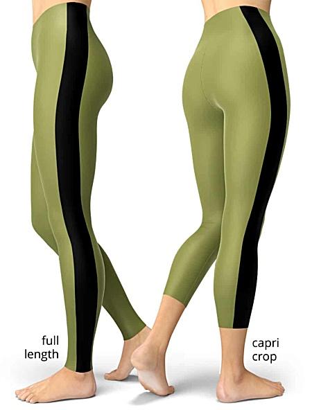 green with black pinstripe side stripe striped leggings