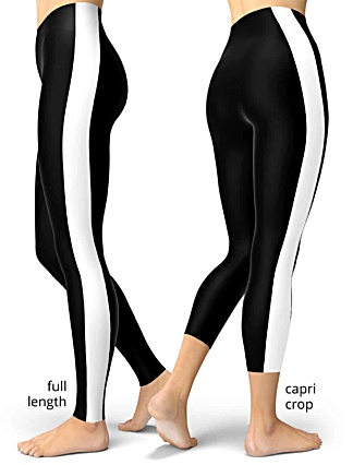 Black with white pinstripe side stripe striped leggings