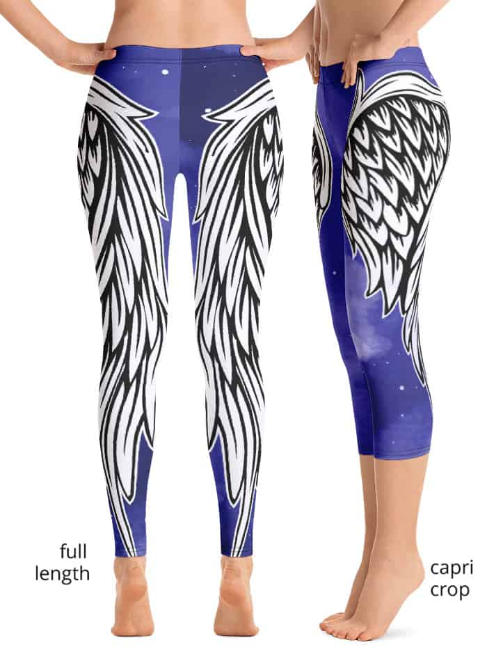 Angel Angle wing wings leggings feather feathered exercise pants