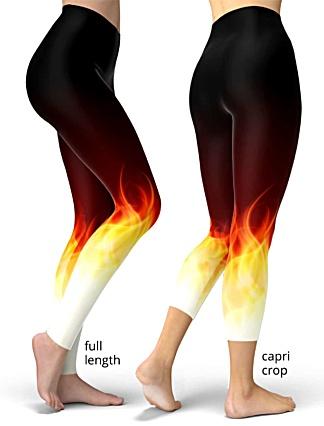 flame fire flaming legging crop capri plus size black red