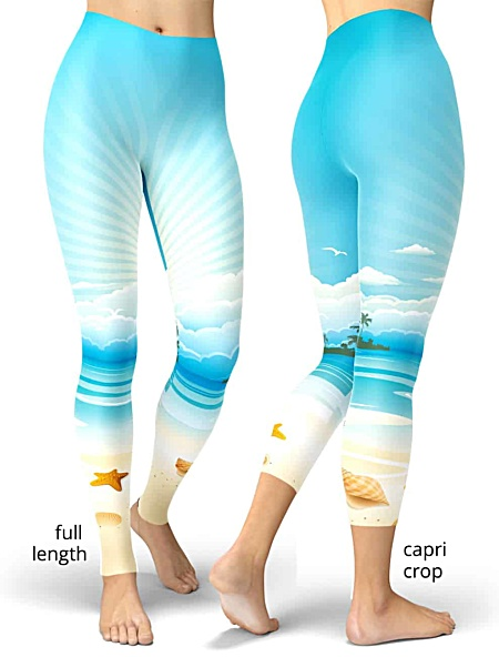 seashell ocean Beach foam summer leggings