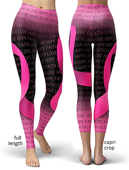 support breast cancer awareness leggings ribbon pink faith love hope