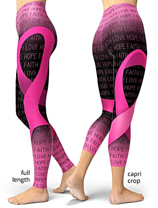 support breast cancer awareness leggings ribbon pink faith love hope
