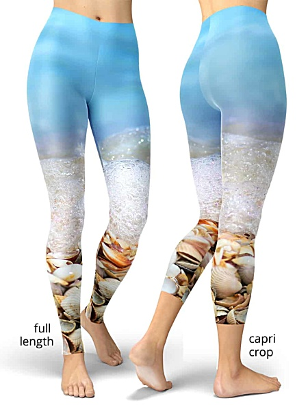 seashell ocean Beach foam summer leggings