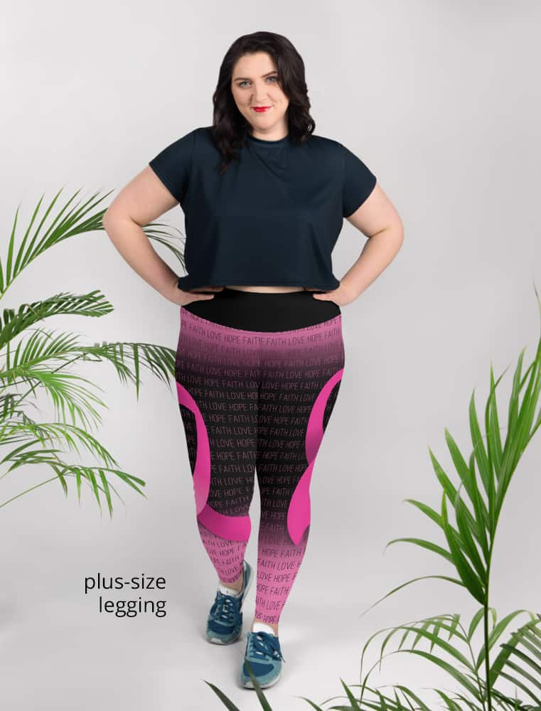 support breast cancer awareness leggings ribbon pink faith love hope plus size