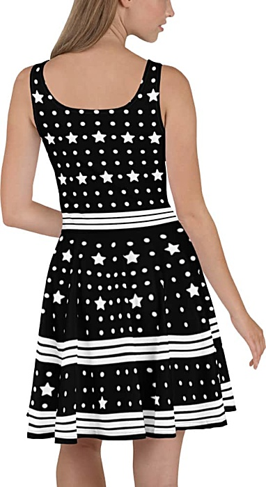 Black & white summer dress with stars polka dots and stripes