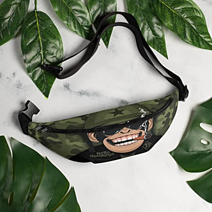 monkey chimpanzee chimp biker military camoflague camo green smoke smoker Fanny Pack bumbag bumbag bag hip packs fanny pack belt