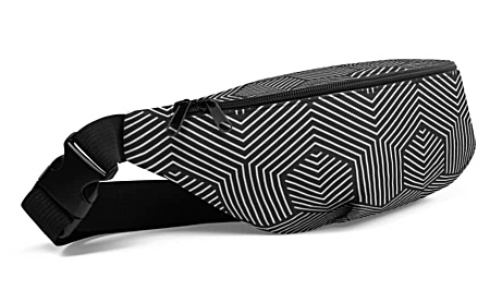 black & white dizzy pattern bumbag bumbag bag hip packs fanny pack belt