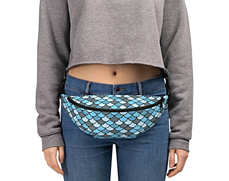 blue fish scale fishscale mermaid bumbag bumbag bag hip packs fanny pack belt