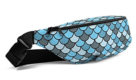 blue fish scale fishscale mermaid bumbag bumbag bag hip packs fanny pack belt