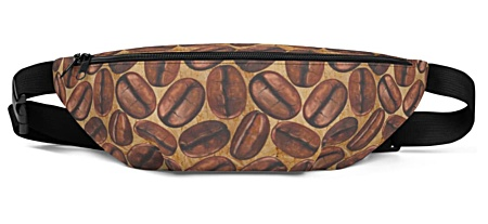 caffeine coffee bean beans brown cafe Fanny Pack bumbag bumbag bag hip packs fanny pack belt