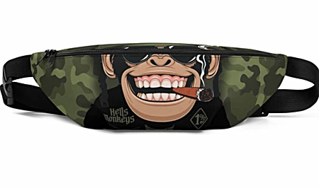 monkey chimpanzee chimp biker military camoflague camo green smoke smoker Fanny Pack bumbag bumbag bag hip packs fanny pack belt