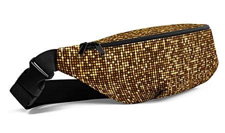 metal metallic gold shimmer shimmery glitter glittery bumbag bumbag bag hip packs fanny pack belt
