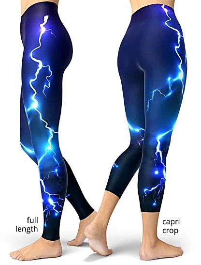 lightening leggings thunderbolt rod fire sky storm blue purple bolt