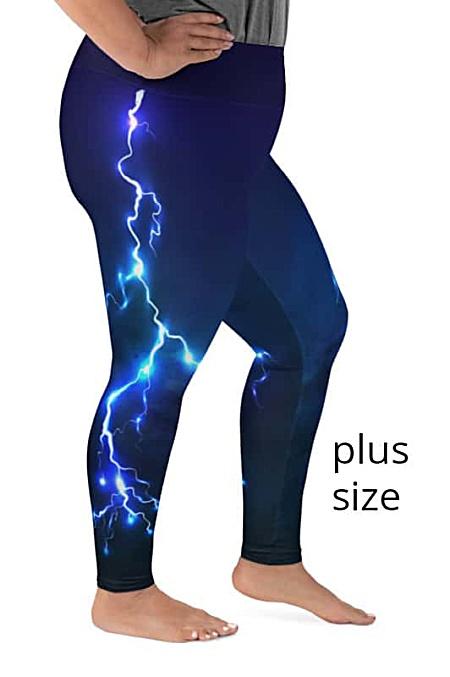 Plus size leggings lightening thunderbolt rod fire sky storm blue purple