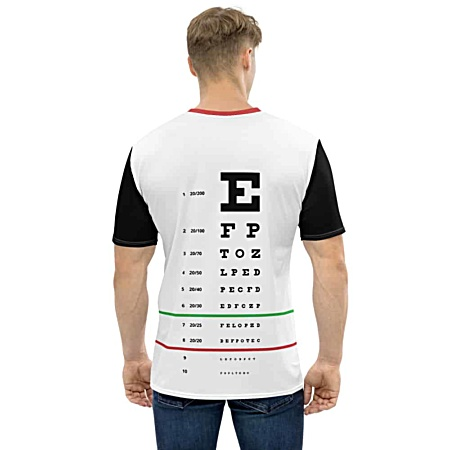 snellen eye doctor exam letters chart optometrist t-shirt tee tshirt for men
