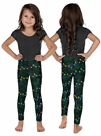 Sparkle Christmas Tree with branches & Christmas Lights - Holiday Leggings kids children child