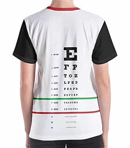 snellen eye doctor exam letters chart optometrist t-shirt tee tshirt for women girls