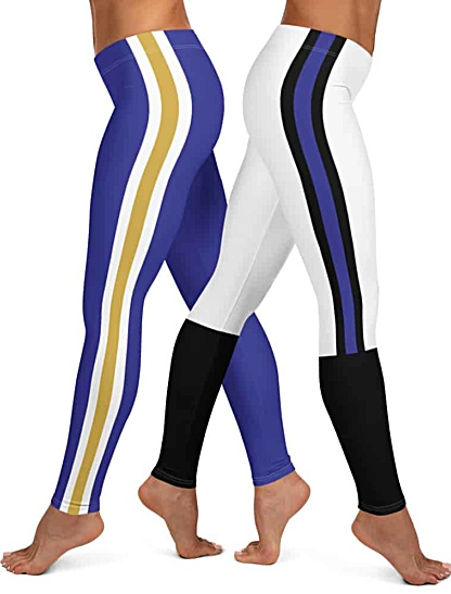 Purple & Black Gold Stripe Baltimore Ravens NFL football Game Day Uniform Leggings
