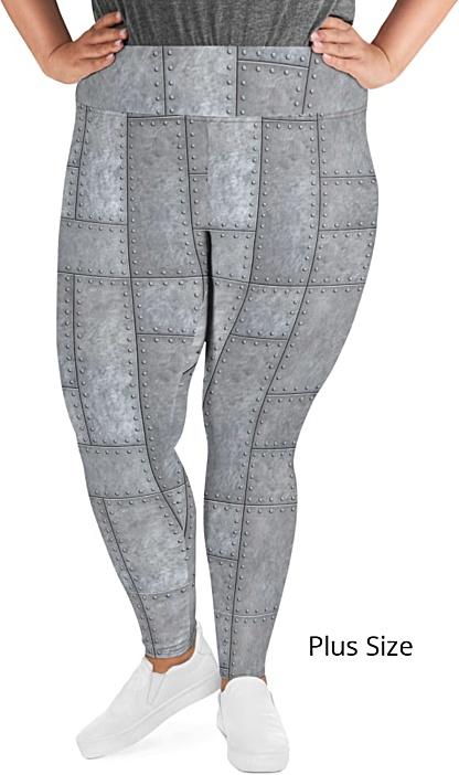 Metal Grill Metallic Rivets plus size Leggings - Capri Crop or Full Length Legging