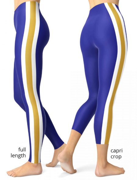 Purple & Gold Stripe Baltimore Ravens Game Day Uniform Leggings