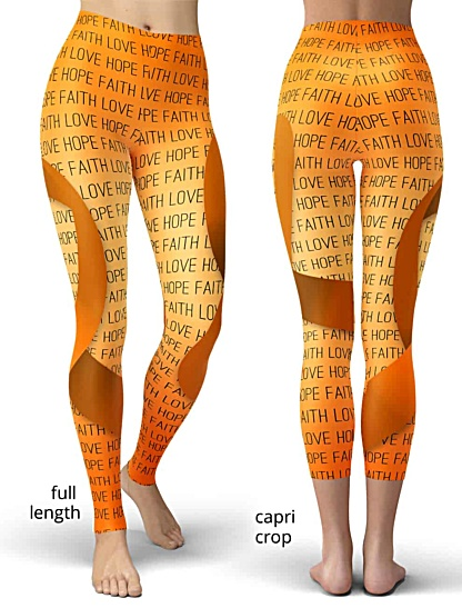 support leukemia cancer awareness leggings ribbon orange faith love hope