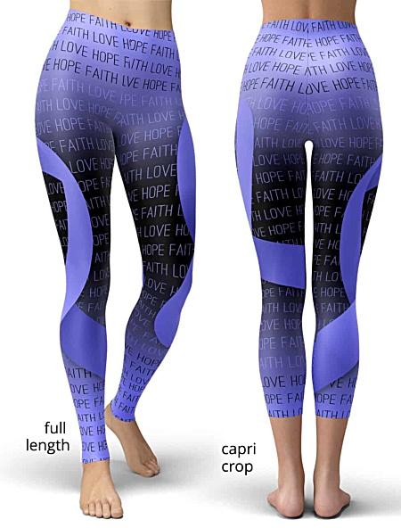 support cancer awareness leggings ribbon purple lavender faith love hope