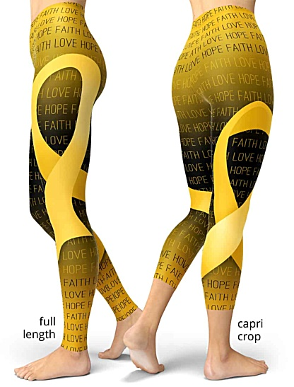 Faith Love Hope Gold Childhood Cancer Ribbon Leggings