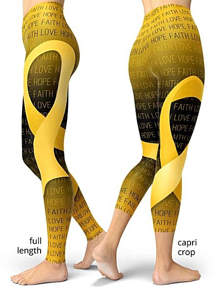 Faith Love Hope Gold Childhood Cancer Ribbon Leggings