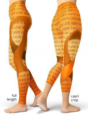 support leukemia cancer awareness leggings ribbon orange faith love hope