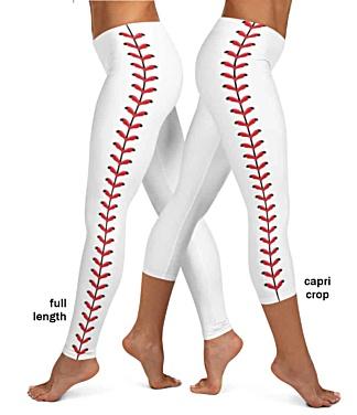 White baseball leggings stitches red leather