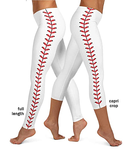 White baseball leggings stitches red leather