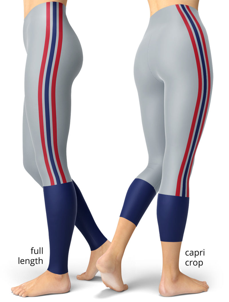 Blue red gray stripes New York Giants NFL football Game Day Uniform Leggings capri full length plus size pants