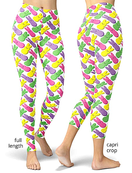 Bunny Easter Marshmallow Peeps Leggings white bunnies