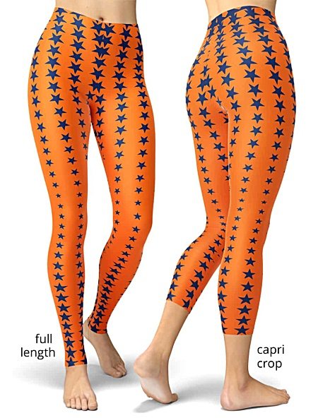 Houston Astro Star Pattern Baseball Leggings orange & blue star