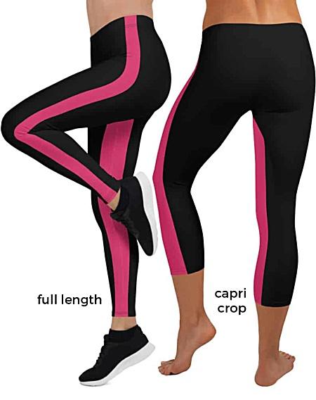 orange pink black white sexy hot modern Inner stripes with side stripe Leggings