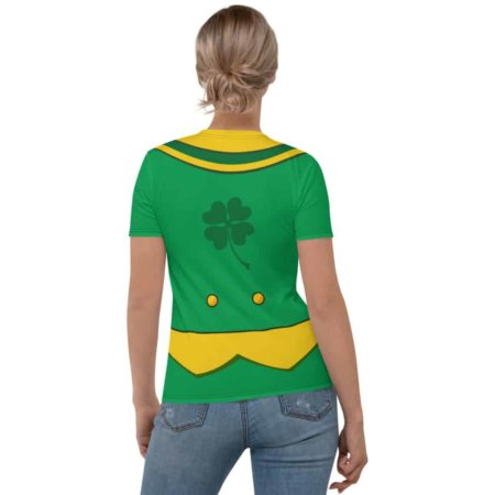 Women's girls Green St Patrick's Day Leprechaun Suit T-shirt- Girls Short Sleeve Tee