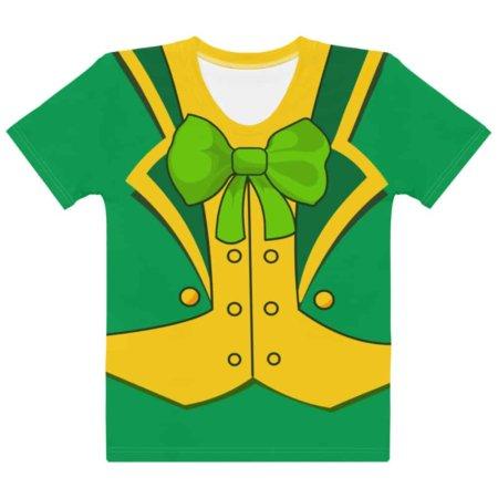 Women's girls Green St Patrick's Day Leprechaun Suit T-shirt- Girls Short Sleeve Tee