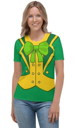 Women's girls Green St Patrick's Day Leprechaun Suit T-shirt- Men's Short Sleeve