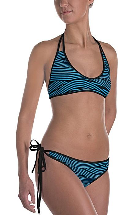 Bandage Stripe Two Piece Reversible Bikini white black pink blue