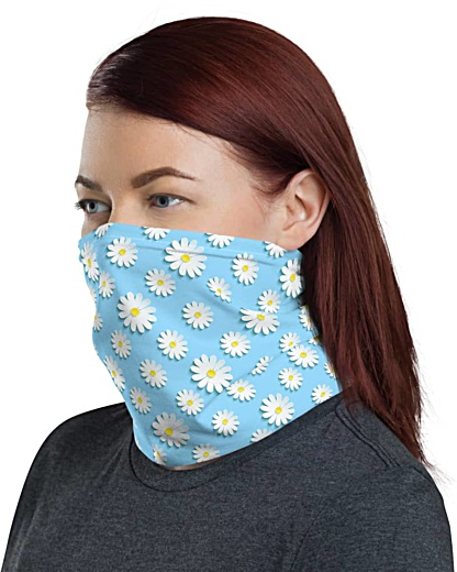 Blue Daisy Face Mask Neck Gaiter