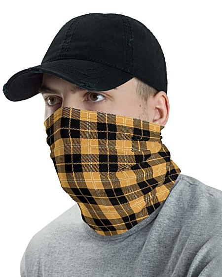 blue black white red gold yellow Scottish tartan Plaid Face Mask Neck Gaiter