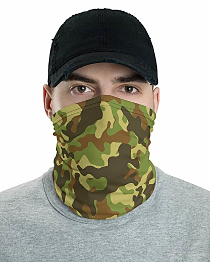 Camouflage Camo Face Mask Neck Gaiter bandana head band fashion green blue khaki pink