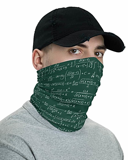 Trigonometry Chalkboard Formulas & Integrals Math Face Mask Neck Gaiter