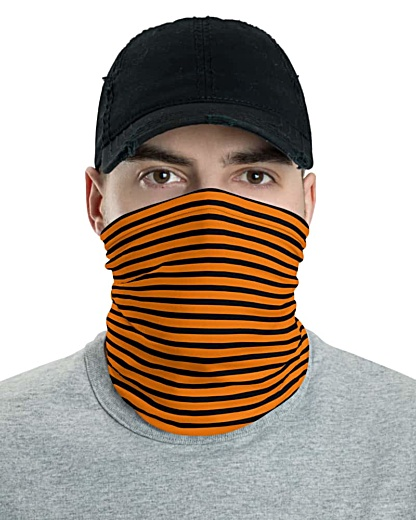 Horizontal Stripe Face Mask Neck Gaiter Blue Teal Red White Black stripes striped