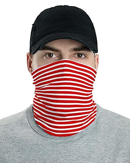 Horizontal Stripe Face Mask Neck Gaiter Blue Teal Red White Black stripes striped