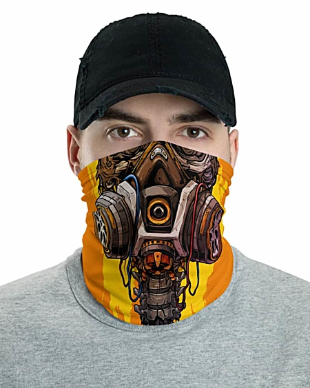 Skeleton Gas Mask Face Mask Neck Gaiter Orange Skull Burnt oxygen