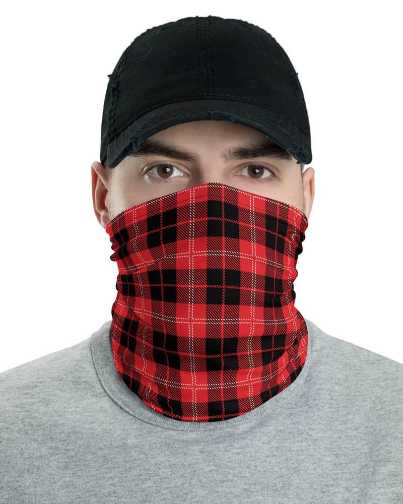blue black white red gold yellow Scottish tartan Plaid Face Mask Neck Gaiter