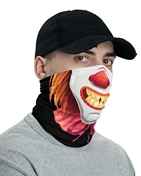 Scary Clown Face Mask Neck Gaiter bandana headband